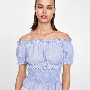 Zara off the shoulder basic denim collection top